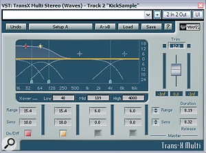 Both kick and snare sounds were replaced for the remix of 'The English Actor', but even though this allowed more flexibility in terms of sound, some work was required before they worked in the mix: the kick achieved more low-end punch using Waves TransX Multi, and the snare was blended into the overall drum sound using Silverspike's freeware RM844 room simulator.