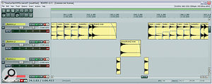 This screenshot illustrates a couple of different techniques used for the kick sound: first you can see how the pick‑up beats have been separated onto the '_Bassdrum_c' track, where they were EQ'd to lighten them and create a musical phrasing; and secondly, the region levels in the '_Bassdrum_a' track show how the hit levels were massaged to make the fill sections more natural‑sounding.