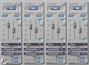 The large blue Voicing Display indicators at the top of the channel strips indicate what harmony position and octave each channel will generate.