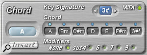 The Chord Panel allows the key signature to be set (in this case to A  major) and automatically displays a  diatonic chord series for that key, to allow chords to be inserted into slots in the Chord Preset Panel.