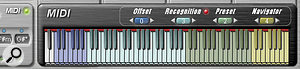 The MIDI button in the Chord Panel brings up a  MIDI  keyboard display, within which zones can be defined for MIDI automation of key, chord and harmony Presets.
