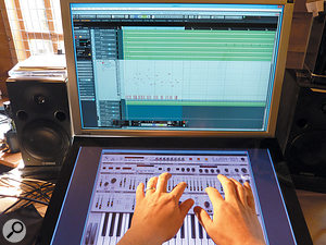 The LuSH-101 soft synth, running here in Cubase, offers full Windows multi-touch even if the host DAW doesn't.