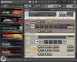 An instrument open for editing, showing the new Instrument Bus strip. Here, Bus 4 has Transient Master, Solid Bus Comp and Solid‑G EQ as insert effects, plus an effect send. The controls for Solid Bus Comp are shown. The Group feeding Bus 4 has the new two‑pole Ladder filter inserted.