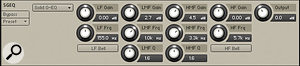 The controls for the Solid‑G EQ. The buttons below the LF and HF bands toggle between shelf and bell curves; both LMF and HMF bands have variable bandwidth (Q) knobs.