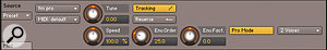 The Time Machine Pro engine with Pro Mode active. Pro Mode allows the spectral envelope (formant) to be adjusted with the Env.Order and Env.Fact knobs. The button at the right selects two-, four- or eight-voice polyphony.