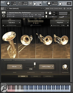 The Performance interface enables the user to play up to six-piece horn sections without having to do any real programming.
