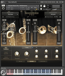 The Session Horns mixer mode provides control over the individual instruments that make up a  multi-instrument 'combi' patch. A  compressor and EQ are available for each channel alongside send controls for a  global delay and a  reverb processor.