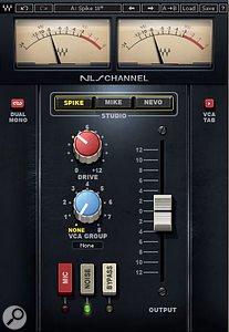 The NLS plug-in interface changes to reflect which of the three consoles you've chosen. Here, the NLS Channel plug-in (left) is in its SSL guise, while the Buss plug-in is emulating Mike Hedges' vintage EMI TG-series desk.