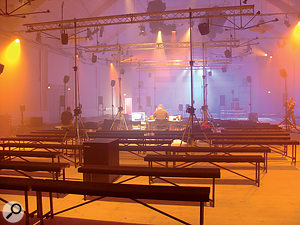 The BEAST system being set up before a concert.