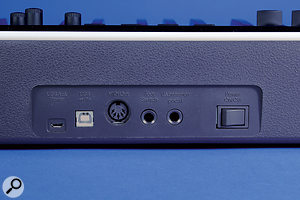 The Panaorama P4's back panel features a USB power input, a USB B port for connection to a computer, a MIDI Out port, quarter-inch jack sockets for a footswitch and expression pedal, and an on/off switch.