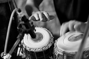 Aref Durvesh's tabla was miked with asingle Sennheiser MKH40, in the stone room at Metropolis.