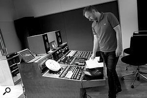 Stuart Hawkes at his mastering desk in Metropolis.