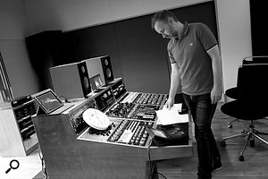 Stuart Hawkes at his mastering desk in Metropolis.