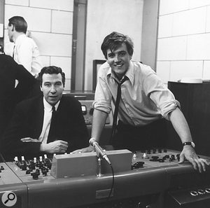 A young Norman Smith (right) working with Billy J Kramer at Abbey Road in 1964.