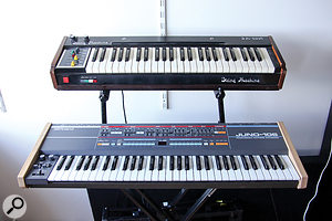 Ólafur Arnalds' favourite synths are the Roland Juno 106 (shown) and 60. The Jen string machine (top) is an oddball and surprisingly useful instrument.