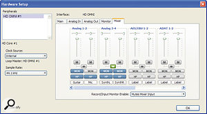 The Hardware Setup page includes controls for the Omni's low‑latency mixer.