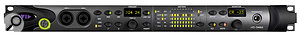 Most of the HD Omni's functions can be controlled from its front panel, and many have dedicated buttons. Two six‑character displays report on the status of the mic preamps and monitor output levels.