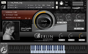 As well as displaying the name and photo of each performer, BWW's GUI shows the instrument's vibrato options, velocity-to-loudness curve and the current mod wheel setting (marked in orange), the mod wheel being the default controller for dynamic cross-fading. The 'X-Fade' function switches to Velocity control when you click in the centre of the circle. Clicking on the Close, Room and Mix on/off buttons loads the samples for those microphone positions; selecting the Mix option will automatically unload the other two.