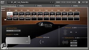 BWW's Articulation Performer allows you to assemble most of an instrument's patches in one Kontakt multi. Its 24 sound slots are arranged in two rows of 12; keyswitches control horizontal movements along arow, while aMIDI CC controller of your choice is used to move between the upper and lower row. Any pair of vertically-aligned cells may be used to stack, velocity-switch or morph between two instruments.