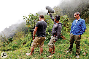 The team's quest for interesting background footage took them to some environments that would challenge their equipment to its limits, like this volcano in the Costa Rican rainforest.