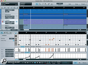 An edit view can replace the mixing Console in the lower half of the window. Here a MIDI part is being edited in a piano‑roll editor.