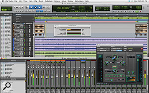 Pro Tools 10 in all its glory. Notice the new Mod Delay III plug-in and the additional disk cache meters in the System Usage window.