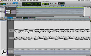 Not only is it possible for the MIDI Editor window to show notation, but the MIDI Editor itself can be integrated into Pro Tools' Edit window for the complete single‑window editing experience.