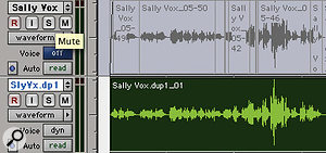 Here, the edited audio on the upper track has been copied to a  new track and consolidated, before the original track is deactivated to save resources.