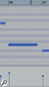 MIDI notes change colour to indicate their  velocity.