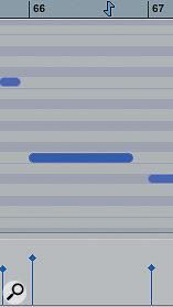 MIDI notes change colour to indicate theirvelocity.