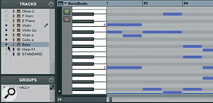By making selections within the MIDI editor's track list (left) you can display multiple tracks simultaneously. The pencil icon shows which track(s) new notes created with the Pencil tool will be added to.