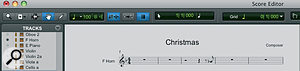 Like the MIDI editor, the Score editor has its own toolbar and settings that are independent of the main Edit window.