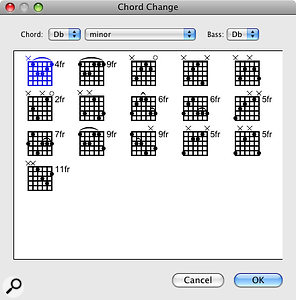 As well as conventional notation, Pro Tools now has aChord track where you can insert guitar chord boxes at points where the chords change.
