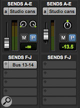 To save having multiple Sends windows open, the Sends A‑E and F‑J sections of the Mixer window can be set to display miniature controls for a particular send.
