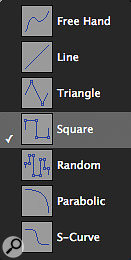 The Pencil tool in Pro Tools has lots of variants for drawing interesting automation patterns.