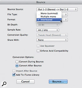 If you want to add your bounced mixes to iTunes, you'll need to export them in a compatible format.