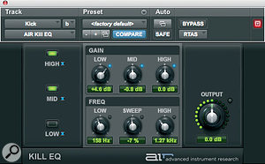 These AIR Kill EQ settings effectively 'solo' the kick drum.