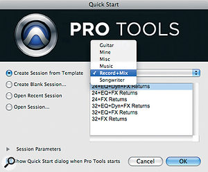The new Quick Start window allows you to create anew Session from atemplate. Avariety of factory templates is supplied.