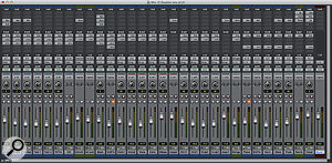 A typical Pro Tools mix containing the usual combination of audio tracks and Aux tracks with plug-ins.
