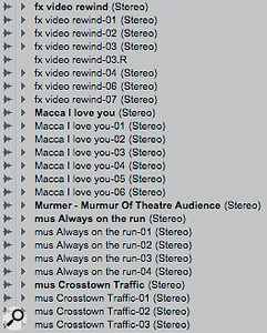 In this Session I've renamed all sound effects with the prefix 'fx' and all music with the prefix 'mus'.