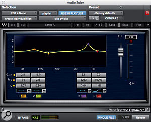 Here, I've copied my EQ settings to the AudioSuite version of the same plug-in, and I'm ready to apply them to the whole file.