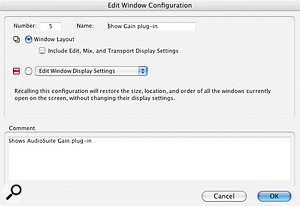 Turning off the option to Include Edit, Mix and Transport Display Settings allows you to use Window Configurations to recall Audiosuite plug-in windows while leaving everything else untouched.