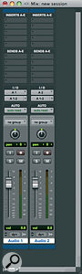 The same two tracks as they appear in the Pro Tools 8 Mixwindow.