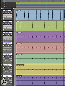 A typical freely recorded multitrack drum session.