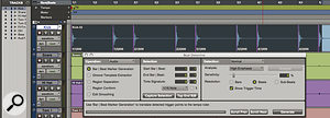 The first stage of creating atempo map: Beat Detective has identified triggers on the kick drum track.
