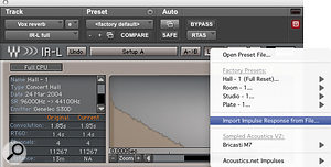 Like most convolution reverbs, Waves' IR‑L can import any sound file to use as an impulse response.