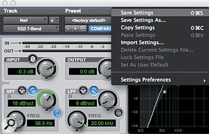 The basic 'Save Settings' option will overwrite the source preset: to save the current settings as a new preset, choose 'Save Settings As'.