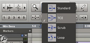 One of the Trim tool modes is TC/E, which applies time‑stretching and also works with the Smart tool's Trim mode.