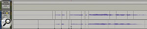Elastic Audio in action: when Idrag one of the Warp markers on the lower track, it adjusts only the individual regions either side of it. Avoid moving Event markers (the grey lines to the right).
