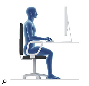Correct posture is vital in avoiding RSI. The back should be upright with knees and elbows bent at right angles. You don't have to be naked or blue, though.